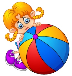 Cartoon little girl holding ball vector image