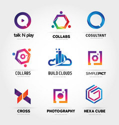 colorful logo business set collection template vector image