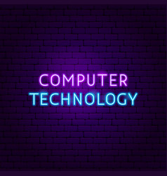 Computer technology text neon label vector