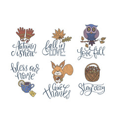 Cozy fall lettering set hand drawn autumn vector