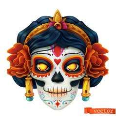 Day dead dia de los muertos skull woman 3d vector