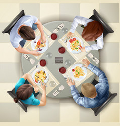 Eating characters top view vector