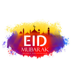 Eid mubarak creative design with watercolor effect vector