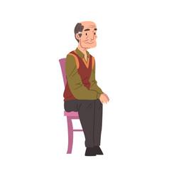 Elderly man sitting in chair grandpa character vector