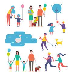 family happy children set vector image