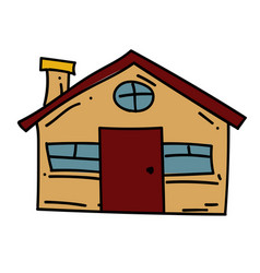 farm house cartoon hand drawn image vector image