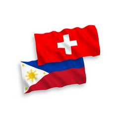 Flags philippines and switzerland on a white vector