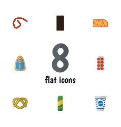 flat icon food set of spaghetti canned chicken vector image