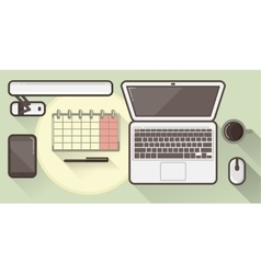 Flat office icons with a thick stroke vector image