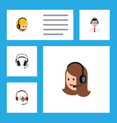 Flat telemarketing set of headphone earphone vector