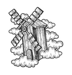 flying windmill sketch vector image