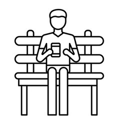 freelancer in park bench icon outline style vector image