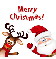 Funny Santa and Reindeer on white background vector image