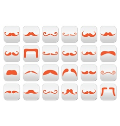 Ginger moustache or mustache buttons set vector