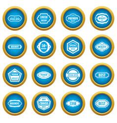 golden labels icons blue circle set vector image