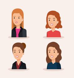 Group businesswomen avatars characters vector