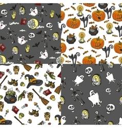 halloween seamless pattern set vector image