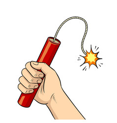 hand with dynamite pop art vector image