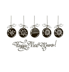 Happy new year hand lettering isolated on white vector image
