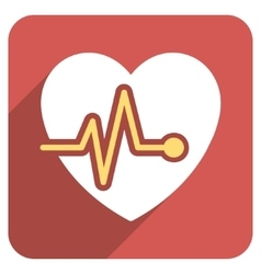 Heart Pulse Flat Rounded Square Icon with Long vector image
