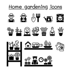 home gardening icons set graphic design vector image