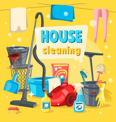 house cleaning tools and supplies vector image