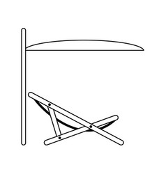 icon of sea beach recliner with umbrella vector image