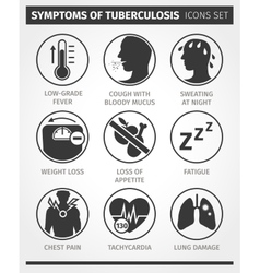 Icons set Symptoms of tuberculosis TB vector image