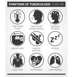 Icons set symptoms tuberculosis tb vector
