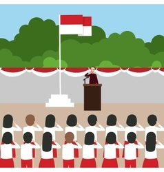 Indonesia flag ceremony school kids during vector