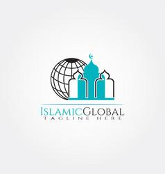 Islamic logo templatemosque and globe icon vector