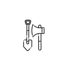 Isolated camping ax and shovel icon line design vector