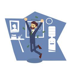 Joyful businessman jumping in office room color vector