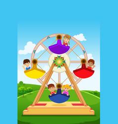 Kids riding a ferris wheel vector