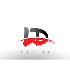 ld l d brush logo letters with red and black vector image