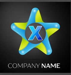 letter x logo symbol in the colorful star on black vector image