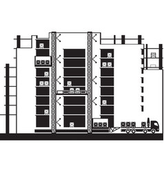 Lifting construction materials to floors bui vector