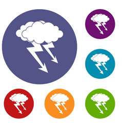 Lightning cloud icons set vector
