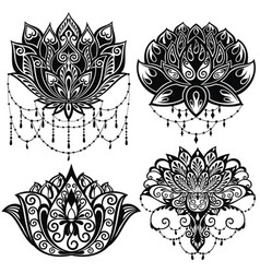 lotus flowers silhouettes vector image