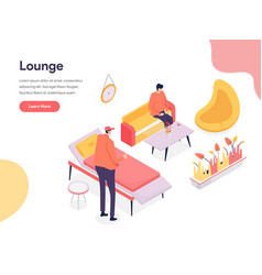 lounge space concept isometric design concept of vector image