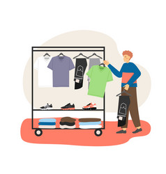 Male character choosing t-shirt and jeans in mens vector