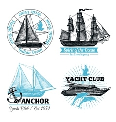 Marine Labels Set vector image