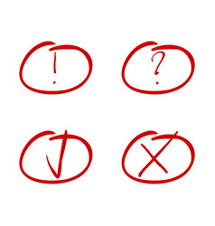 Mark red marker tick and cross exclamation and vector