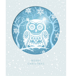 merry christmas card with with an owl vector image