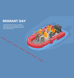 Migrant day concept background isometric style vector
