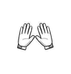 motorcycle gloves hand drawn outline doodle icon vector image