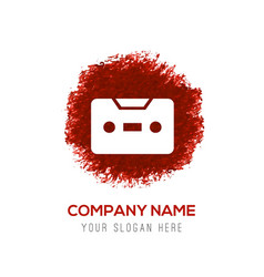 Music tape icon - red watercolor circle splash vector