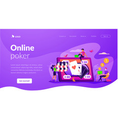 Online poker landing page template vector