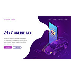 online taxi 24 7 isometric landing page web banner vector image