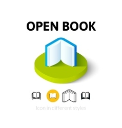 Open book icon in different style vector